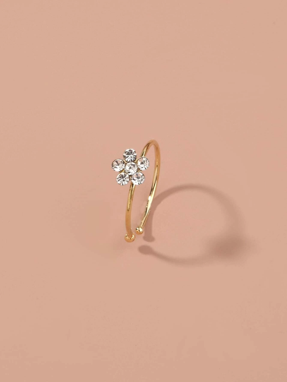 Rhinestone Flower Decor Nose Ring Romwe Usa Nose Ring Jewelry Cute Nose Rings Nose Ring
