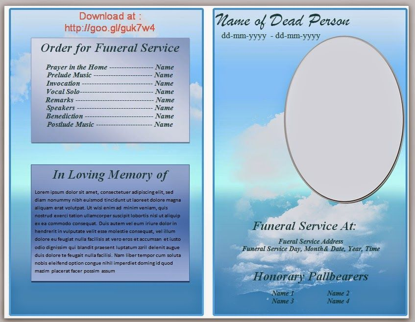 free blue cloud funeral program template in microsoft word 2007 2010 to download
