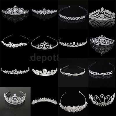 Bridal Wedding Crystal Crown Tiara Wedding Women Headband Headpiece Silver | eBay #crowntiara