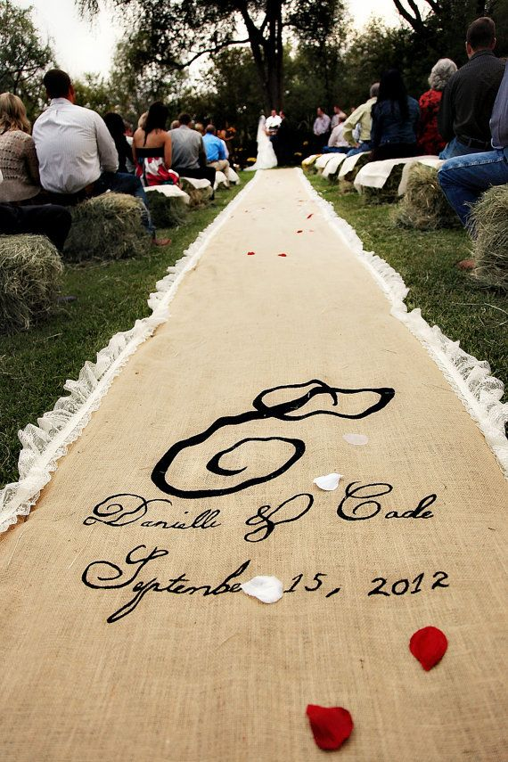 20ft Lace Burlap Wedding Aisle Runner With Custom Monogram Initials W Non Slip Backing Natural Rustic County