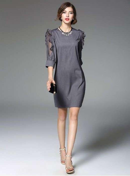 a92e280a735b7 袖 フリル シフォン 切替 ワンピース ドレス。パーティードレス 結婚式 ワンピース 袖フリル シフォン 切替