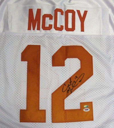 ... colt mccoy texas longhorns ncaa hand signed authentic style white jersey  . 284.99. colt mccoy 629214755