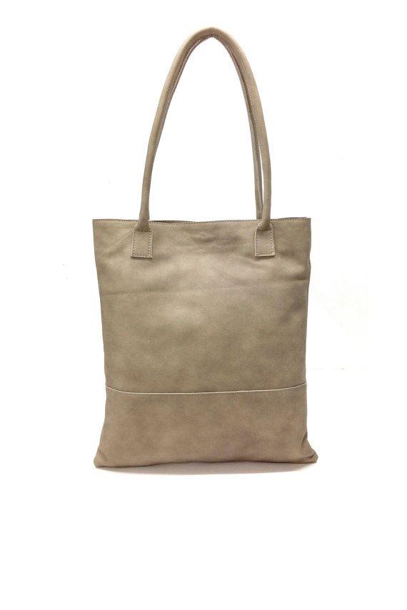 92d04e15885 Sale!!! Medium Leather Tote bag, Shopper bag, Distressed Light gray ...