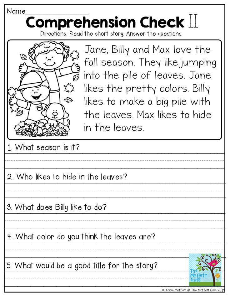 Reading Comprehension Checks Read the short passage and highlight – Reading Comprehension Worksheets for Kindergarten and First Grade