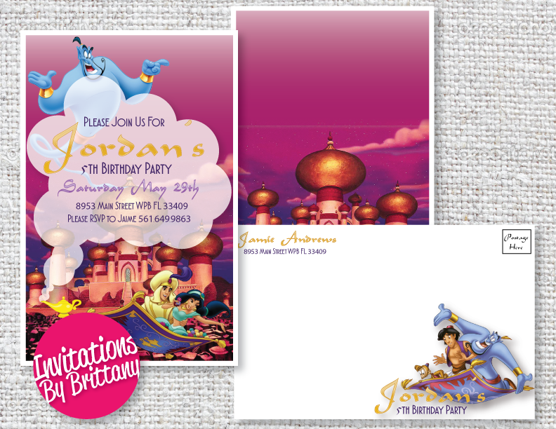 Aladdin Birthday Invitation and Matching Envelope 5x85 Inches – Affordable Birthday Invitations