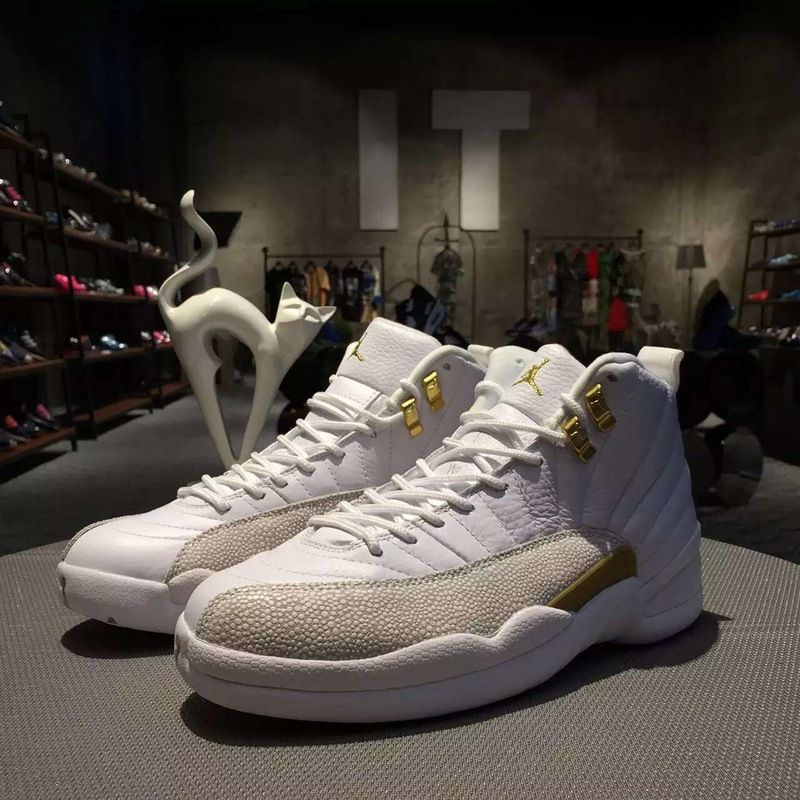 buy online b38c9 e7cc2 Womens-Jordan-Retro-12-OVO-Drake s-Basketball-Shoes-White-and-Gold-4
