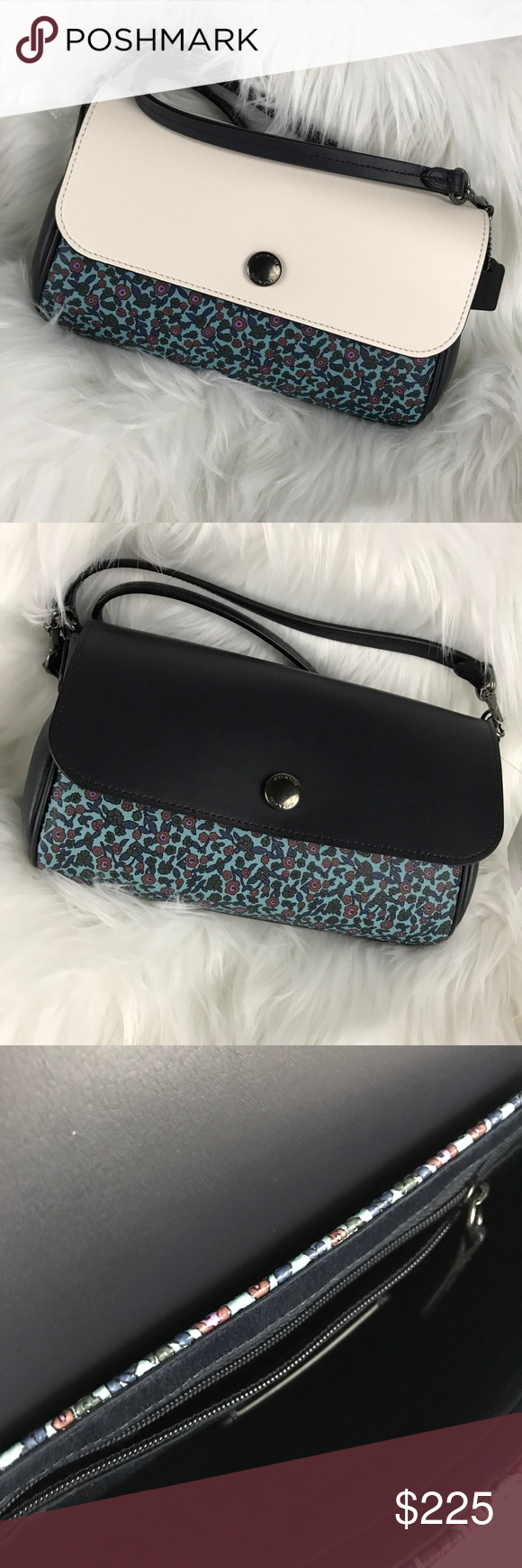 """Coach Black, Cream Floral reversible Crossbody Bag This Authentic Crossbody black and cream floral print Coach Bag is extremely versatile with a reversible cream or black snap over cover with a floral pattern base. Removable Crossbody strap and it becomes a clutch bag. #0429.    📐Measurements & Information 📐  Snap closure Drop length approx 22""""  Removable Crossbody strap 1 Interior slide pocket  1 Interior zipper pocket Purchased directly from Coach and I have receipt.  Authentic black and cre"""