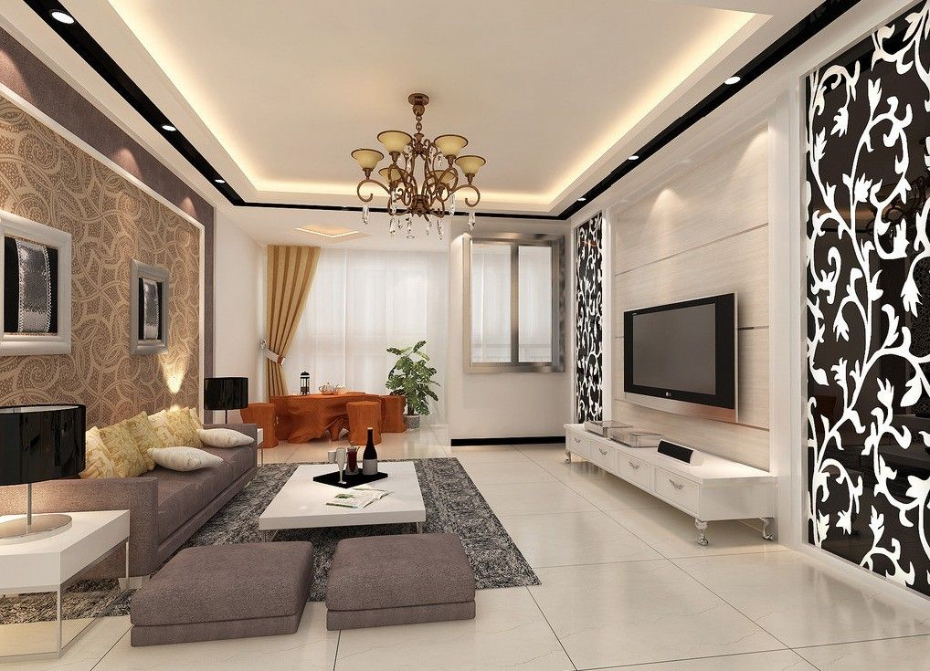 Living Room Interior Design Ideas Captivating Large Dining Room Interior Design With Wallpaper  Home Design . Inspiration