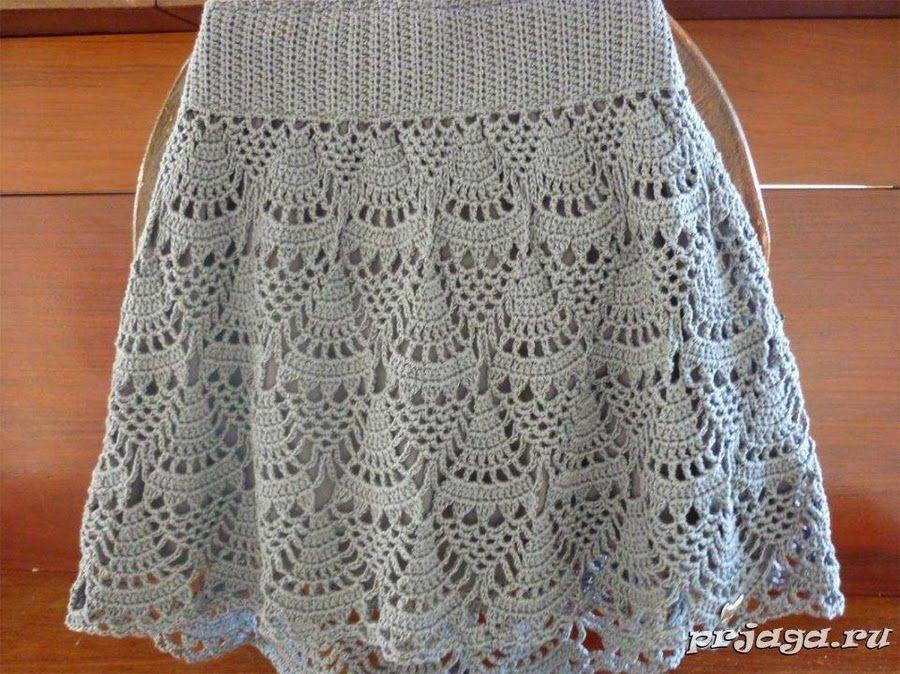 Falda gris de abanicos (CARAMELO ARDIENTE es... LA PRINCESA DEL CROCHET)