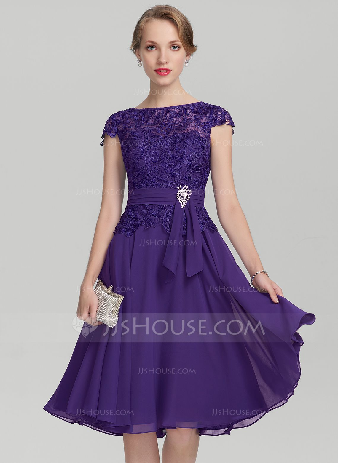 A-Line/Princess Scoop Neck Knee-Length Chiffon Lace Mother of the ...