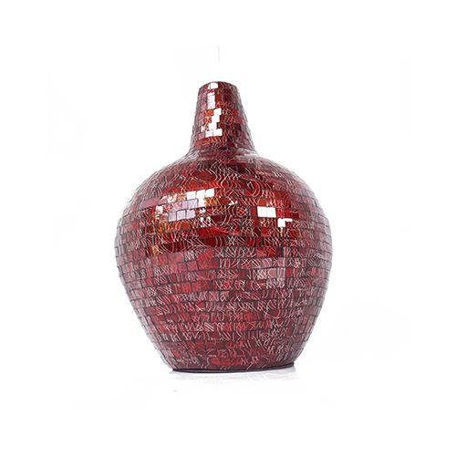 Himeros Vase VAS002 - Glass Mosaic ( Maroon Red with Batik ) - Bottom Angle Elevation - Dimensions : Height - 44 cm ( Overall ) Bottom - Diam. 19 cm Top : Diam. 7 cm