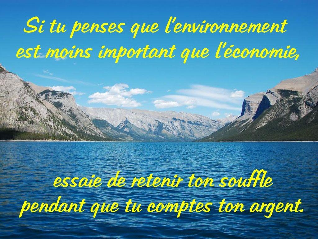 Si Tu Penses Que L Environnement Est Moins Important Que L Economie Essaie De Retenir Ton Souffle Pendant Que Tu Citations Illustrees Je Pense A Toi Citation