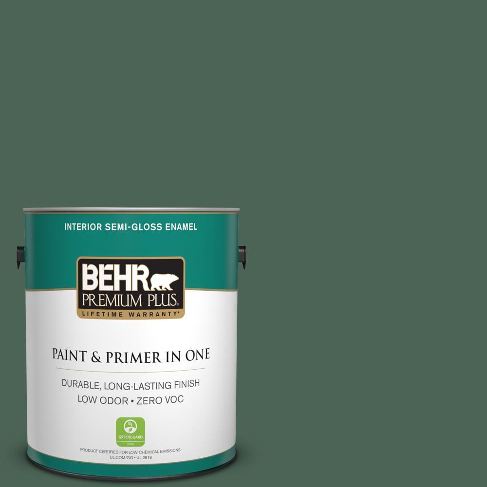 BEHR Premium Plus 1-gal. #460F-6 Medieval Forest Zero VOC Semi-Gloss Enamel Interior Paint
