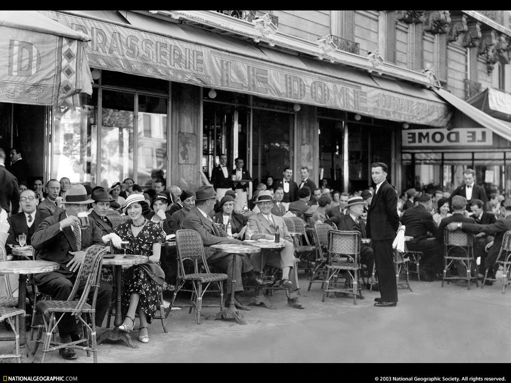 Vintage Black White Photo Paris cafe 1920 Print Poster for glass frame
