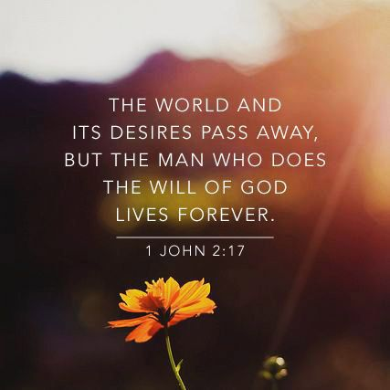 The world and its desires pass away, but whoever does the will of God lives forever. - 1 John 2:17