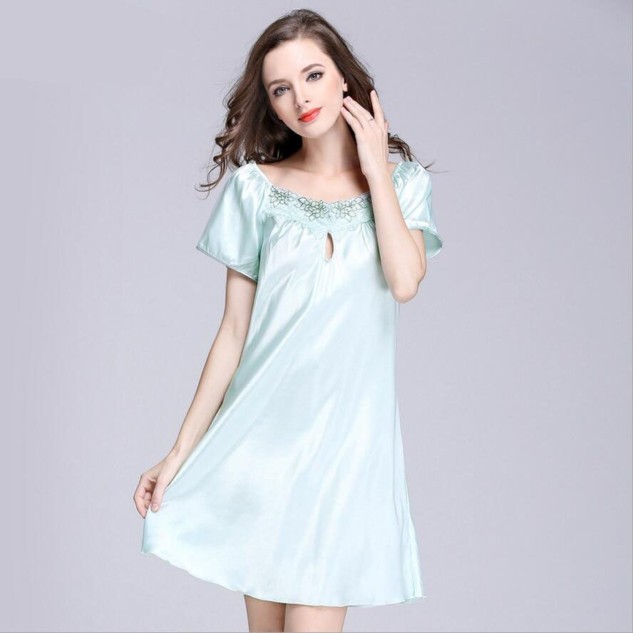 S XXXXL Women s Silk Night Gown Plus Size Summer Sleepwear Night Shirt  Dress Lady Sleepshirt Nightgown Lounge Short Sleeve Dress 38ead2693