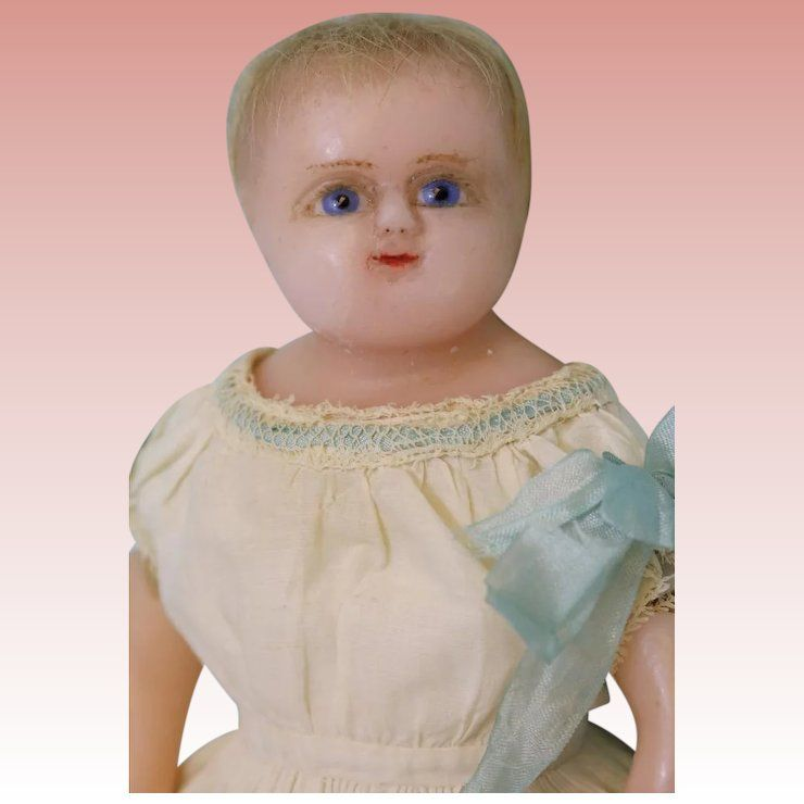 11 Inch Antique Poured Wax Baby Doll 1870s England All Orig Hand Sewn Clothing Dolls Baby Dolls Hand Sewing