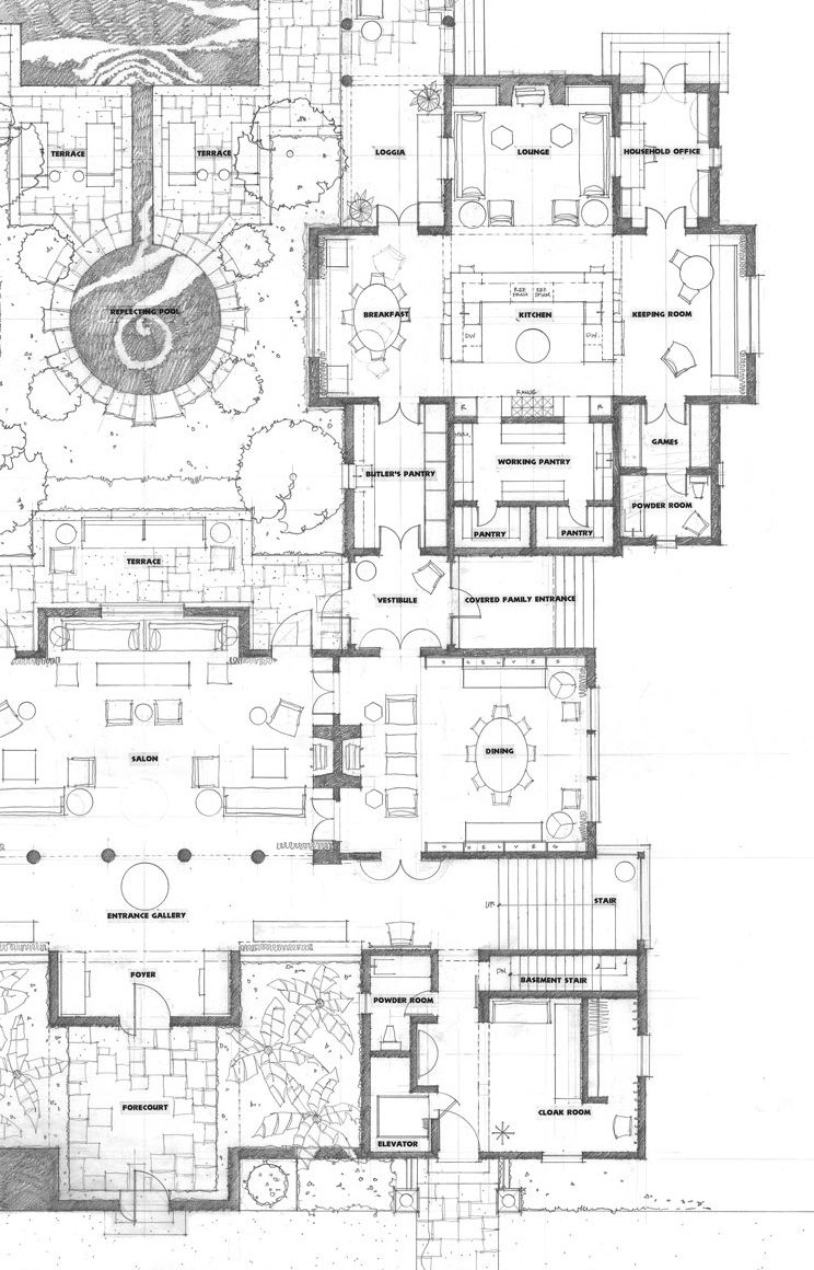 Way too big but good kitchen room layout for House plans with keeping rooms