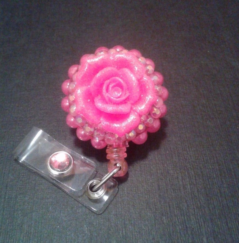 Dark Pink Sparkle Glitter Flower Rose Retractable Id Nurse Badge