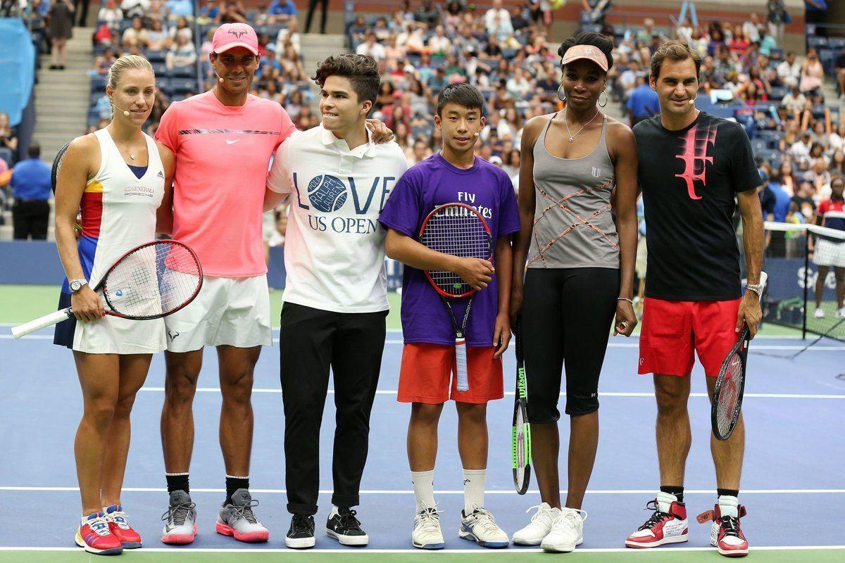 Roger Federer Rafael Nadal Venus Williams And Angelique Kerber At Arthur Ashe Kids Day 2017 Roger Federer Venus Williams Rafael Nadal