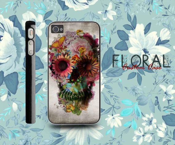 Floral Skull Case For iPhone 4/4S,iPhone 5,iPhone 5S,iPhone 5C,Samsung Galaxy S2/S3/S4,Galaxy S4 Mini