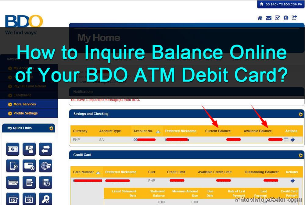 How to Inquire Balance Online of BDO ATM Debit Card? | Banking
