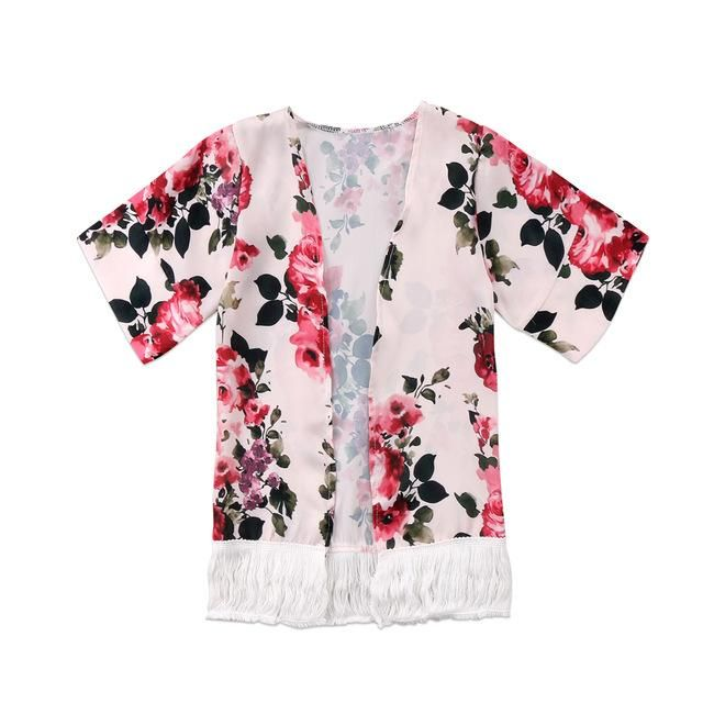 Toddler Kids Baby Girls Summer Floral Coat Jacket Kimono Cardigan Blouse Clothes