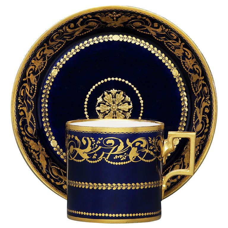 "Cup and Saucer in ""Leithnerblau"" with Gold-Relief Decoration"