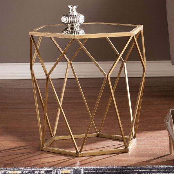 Harper Blvd Judy Geometric Gold Accent Table | Overstock.com Shopping   The  Bestu2026
