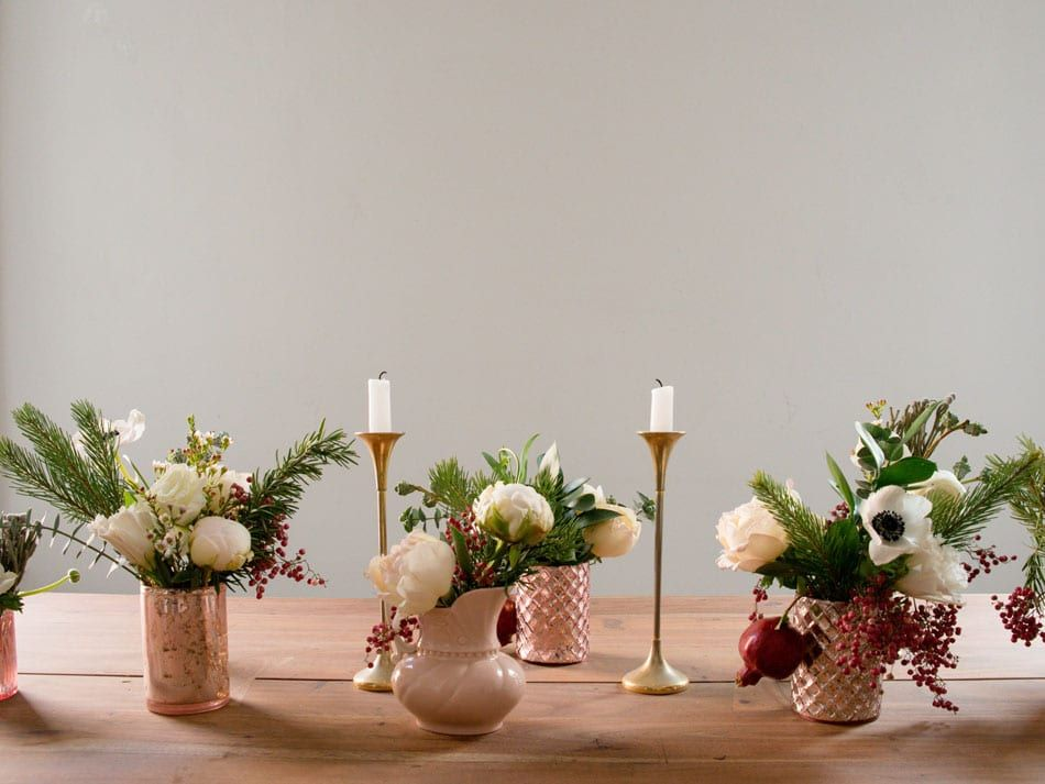 3 Chic And Easy Holiday Centerpiece Ideas Holiday Centerpieces Bud Vase Centerpiece Holiday Floral Arrangements