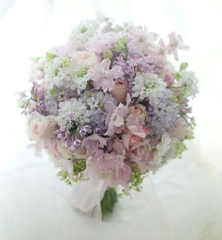 Sweet & Romantic Bridal Bouquet Featuring: Pastel Pink & Green Snow Bell, White Scabiosa, Pink Spray Rose, Pastel Blue & Lavender Lilac, Hand Tied With Chiffon Ribbons^^^^