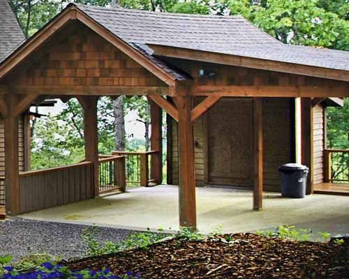 Wood carports hut shape wooden carport design car for Garage with carport designs