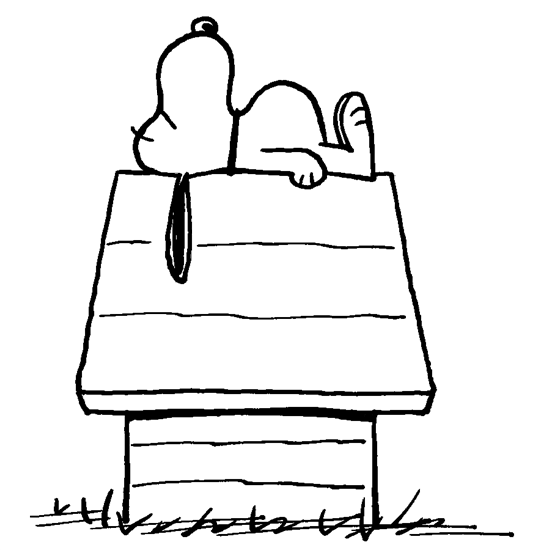 Very Classic Drawing of Snoopy Sleeping on Top of his