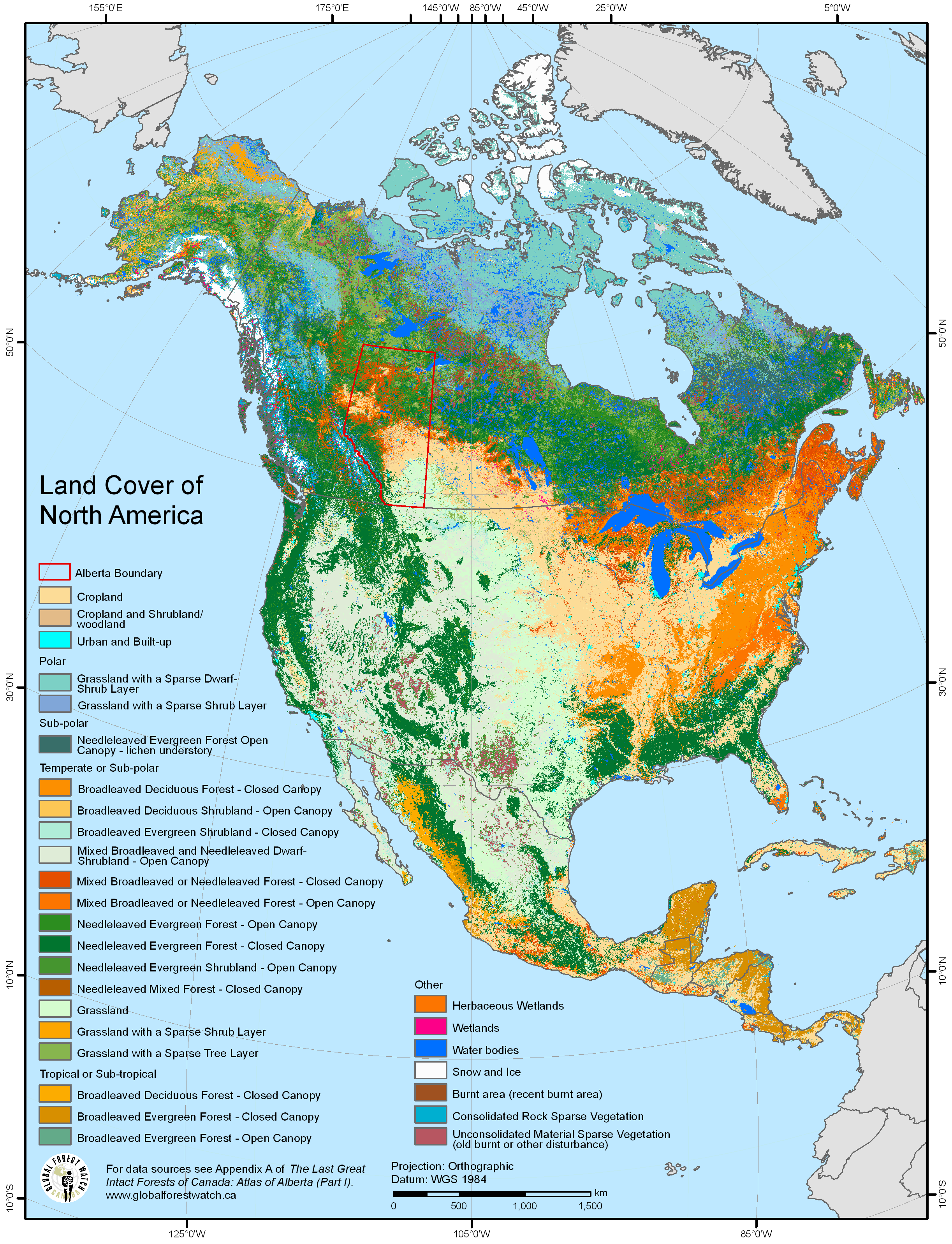 Land Cover Of North America Travelnorthamerica In