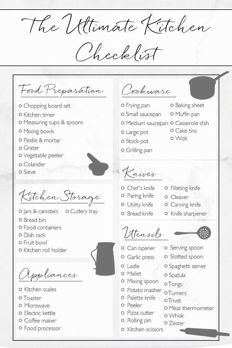 Inspiration Kitchen Checklist New Home Checklist First Home Checklist