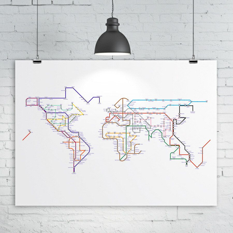 World map print subway map tube map metro map a2 size 24in x world map print subway map tube map metro map a2 size 24in x 16in approx map of the world art print by kiacoltd on etsy gumiabroncs Choice Image