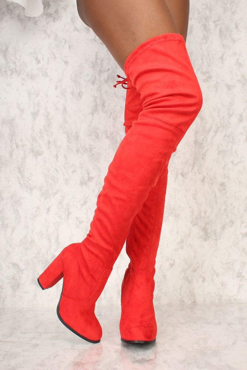eb8c5137ec5 Buy Sexy Red Round Pointy Toe Thigh High Boots Single Sole Chunky High Heel Faux  Suede