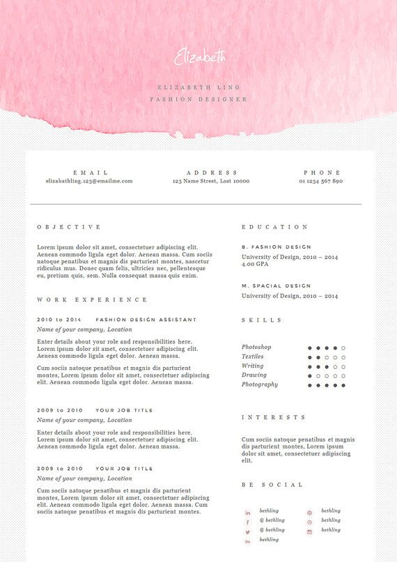 pink resume template with cover letter cv template in by landedco