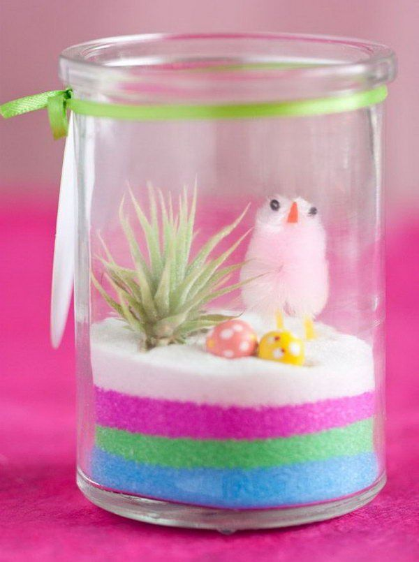Mini easter terrarium its so cute with the chicks and colour decoration edible cute mini easter terrariums design ideas with glass jar and rainbow cake featuring mushroom candy and chick create easy easter terrarium negle Choice Image