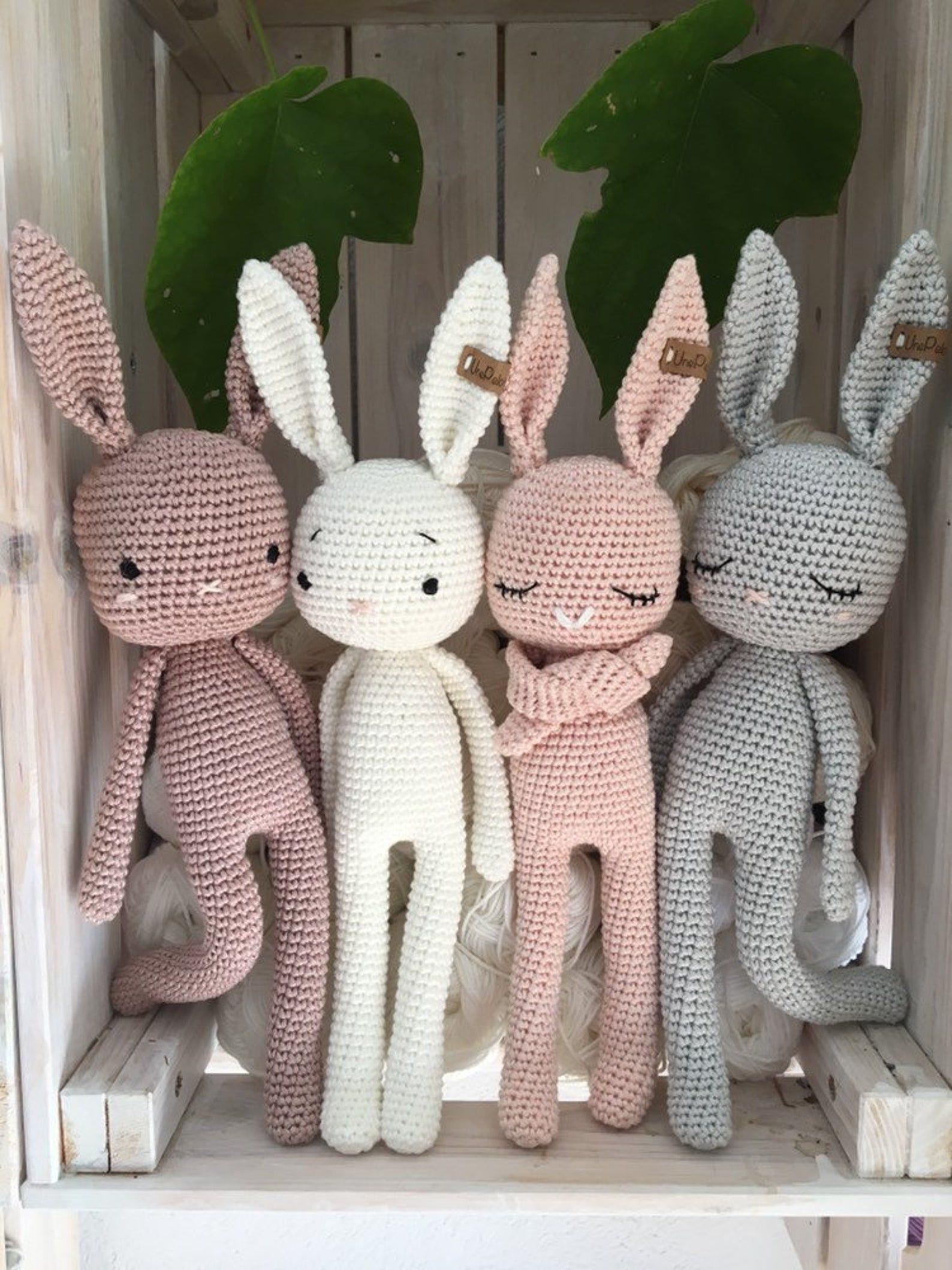 crochet Bunny LUCKY, a crochet toy for a newborn o