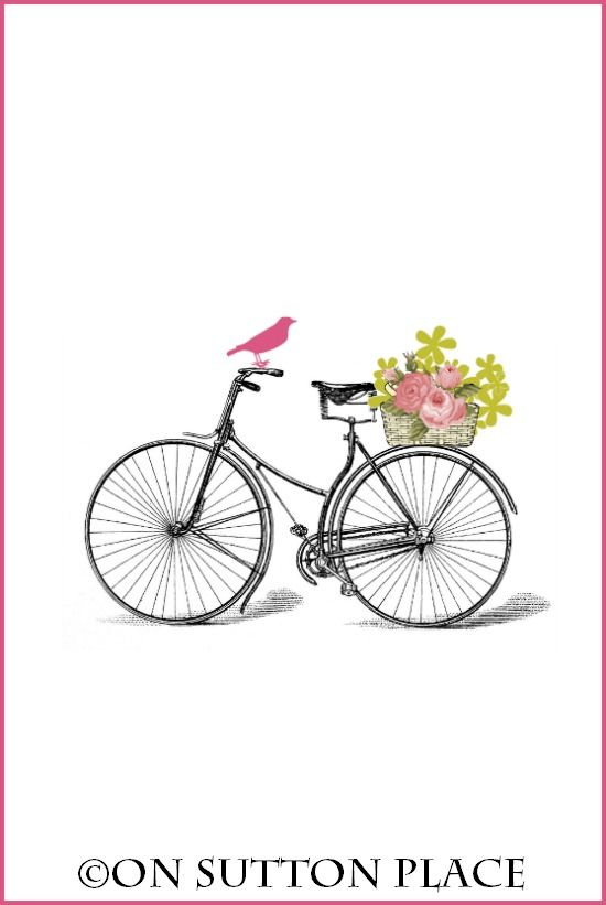 c99484f5978 Free Printable | Nostalgic vintage bicycle with basket of flowers on the  back! | download and use for DIY wall art, cards, crafts, screensavers and  more!