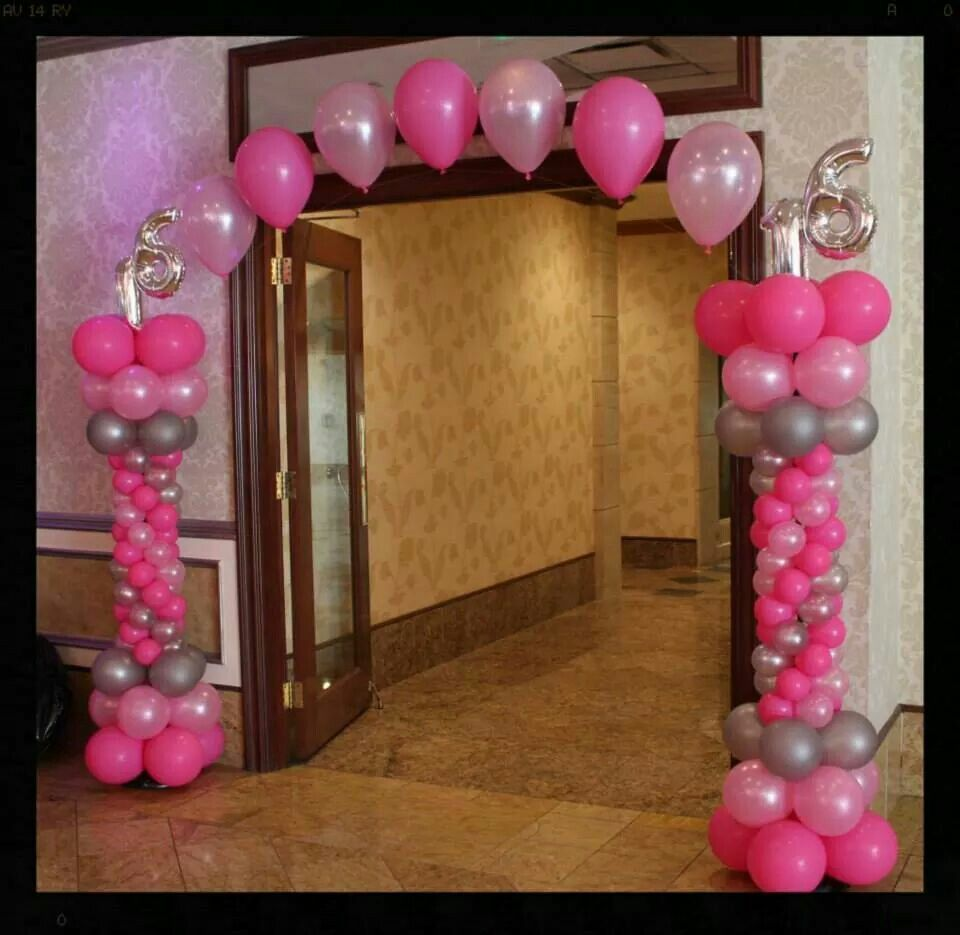 16th balloon arch 16th birthday party pinterest 16 for Balloon decoration ideas for sweet 16