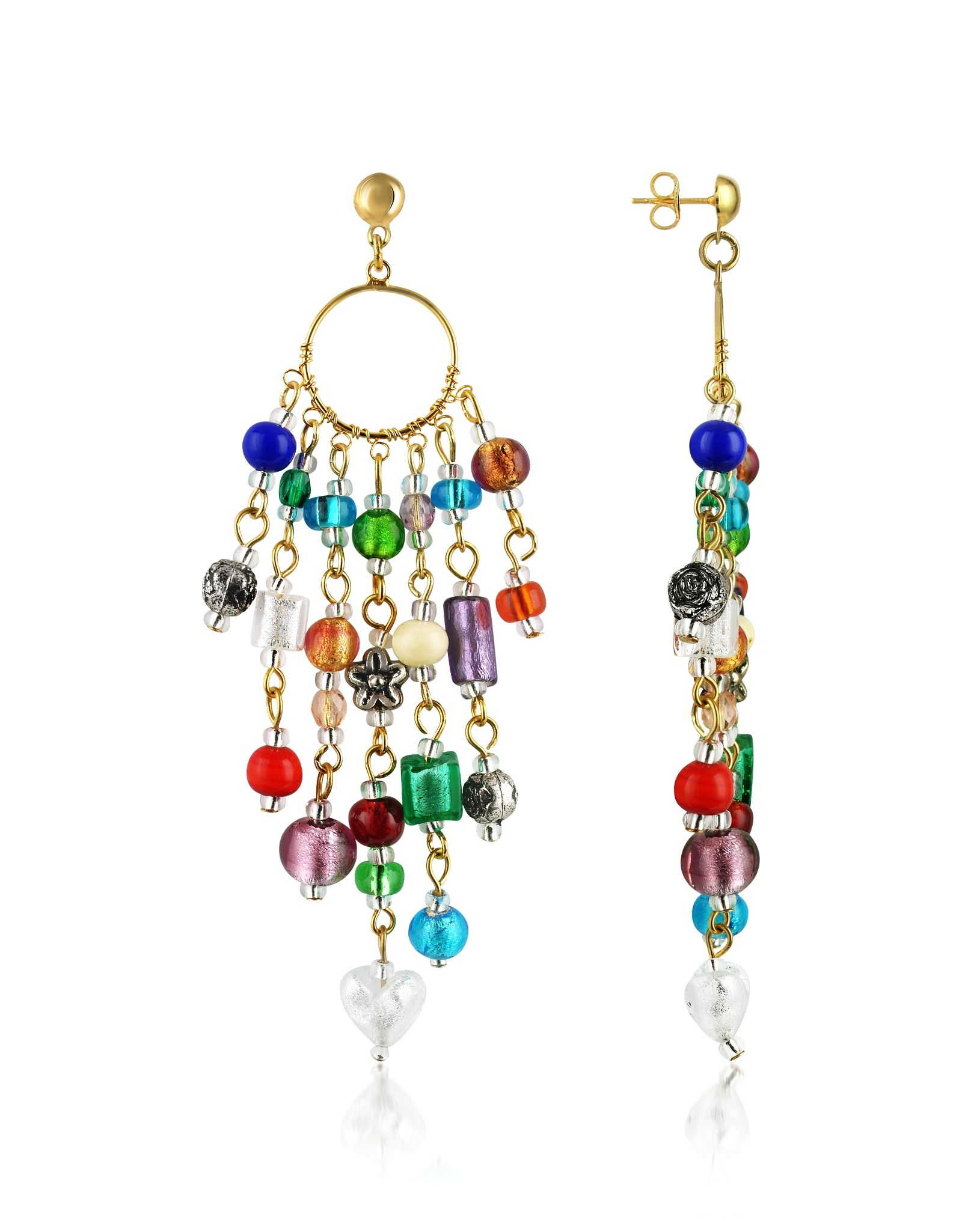 Antica murrina brio murano glass bead chandelier earrings at colorful chandelier earrings in non allergenic metal featuring charming glass beads in varying shapes and sizes offer unique charm with an elegant flair arubaitofo Images