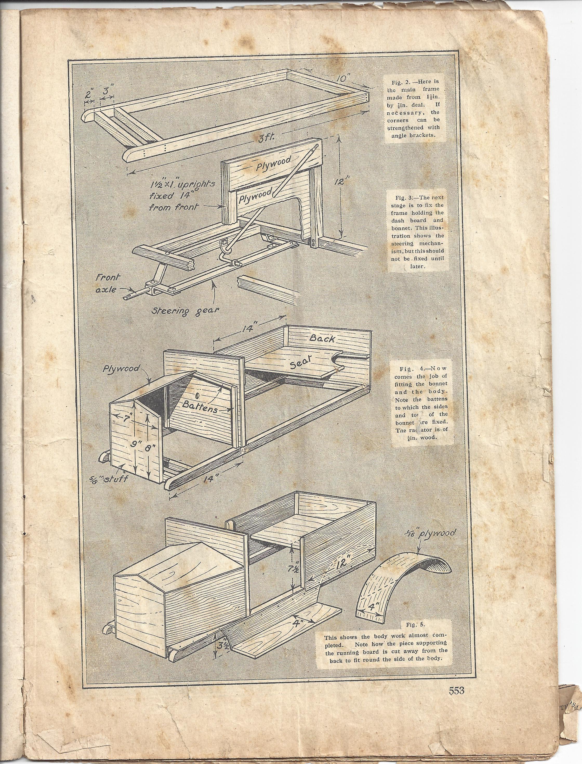 build your own vintage pedal car plans. handicrafts magazine 1928 ...