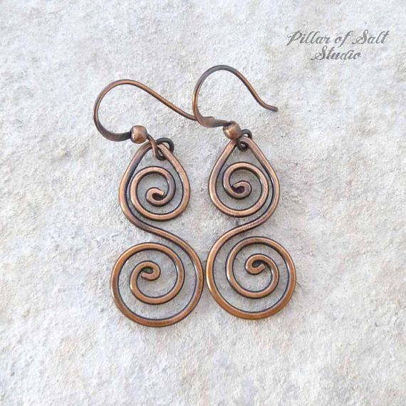 Solid copper earrings / Wire wrapped earrings / wire wrapped | Wire ...