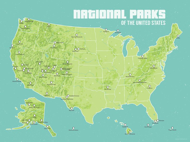 Us Road Map Poster US National Parks Map 18x24 Poster | Us national parks map, Us