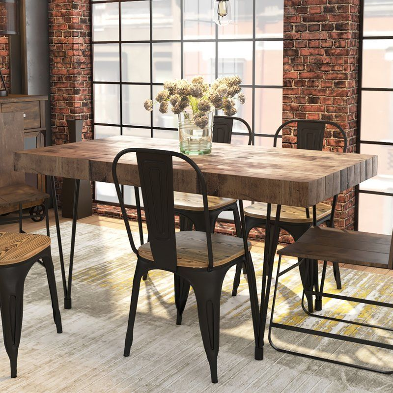 Okemah Solid Wood Dining Table With Images Dining Table Solid