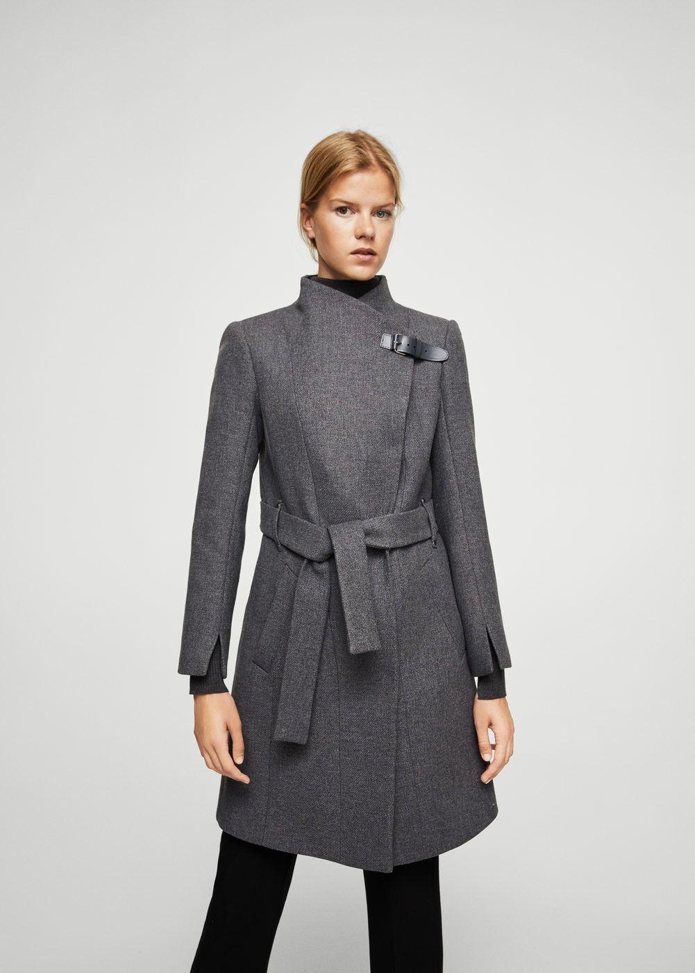 Abrigo lana cinturón - Mujer  f4094cc2fd61