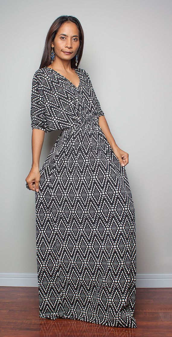 29bb4b63c9fc Black and White Dress Funky Summer Maxi Dress Funky by Nuichan, $59.00