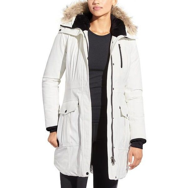 Athleta Women Iceland Parka (£285) ❤ liked on Polyvore featuring outerwear, coats, bright white, water resistant coat, athleta, parka coats, insulated coat and silver coat